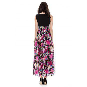 Bohemia Floral Printn Plunging Neckline Sleeveless Dress For Women - COLORMIX COLORMIX