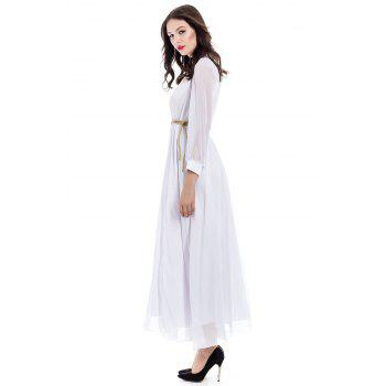 Voile Splicing Sexy V-Neck Off-The-Breast Long Sleeve Women's Dress - M M