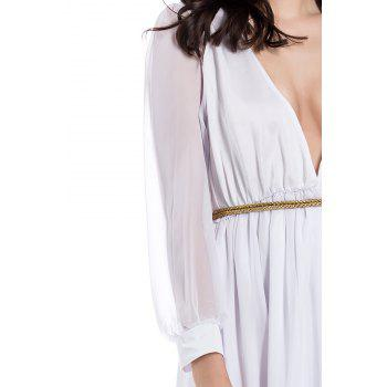 Voile Splicing Sexy V-Neck Off-The-Breast Long Sleeve Women's Dress - L L