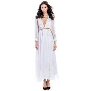 Voile Splicing Sexy V-Neck Off-The-Breast Long Sleeve Women's Dress - WHITE L