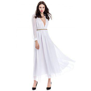 Voile Splicing Sexy V-Neck Off-The-Breast Long Sleeve Women's Dress - XL XL