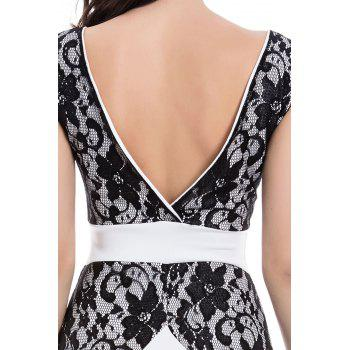 Charming Jewel Neck Lace Splicing Backless Short Sleeve Dress For Women - L L