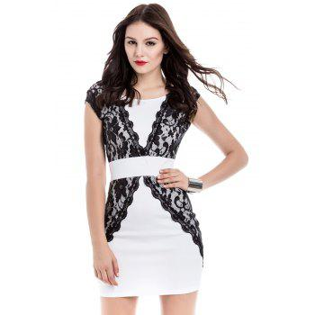 Charming Jewel Neck Lace Splicing Backless Short Sleeve Dress For Women - WHITE L