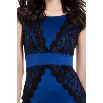 Charming Jewel Neck Lace Splicing Backless Short Sleeve Dress For Women - XL XL