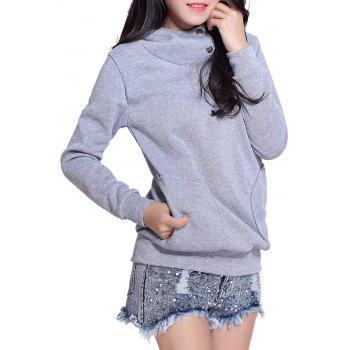 Casual Side Pockets Design Long Sleeve Solid Color Loose Hoodie - GRAY M