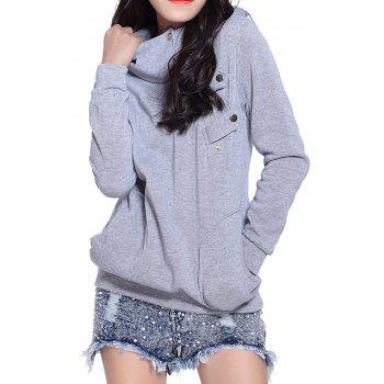 Casual Side Pockets Design Long Sleeve Solid Color Loose Hoodie - GRAY L