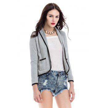 Trendy Color Block Shawl Collar Long Sleeve Blazer For Women - GRAY S