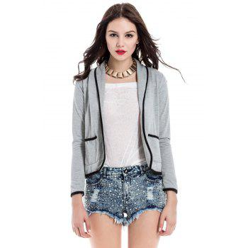 Shawl Collar Color Block Long Sleeve Blazer For Women