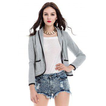 Trendy Color Block Shawl Collar Long Sleeve Blazer For Women - GRAY M