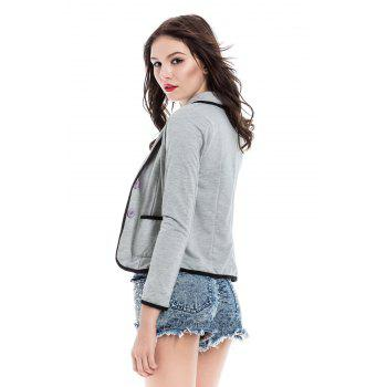 Trendy Color Block Shawl Collar Long Sleeve Blazer For Women - GRAY L