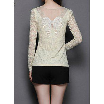 Stylish Scoop Neck Long Sleeve Bowknot Pattern See-Through Women's T-Shirt
