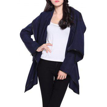 Stylish Women's Long Sleeves Solid Color Asymmetric Wool Coat