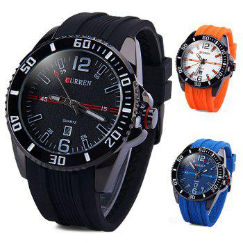 Curren 8178 Male Quartz Watch Day Rubber Band Round Dial