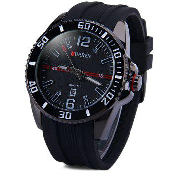 Curren 8178 Male Quartz Watch Day Rubber Band Round Dial -  BLACK