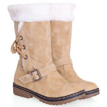 Vintage Suede and Buckle Design Snow Boots For Women - BEIGE 37
