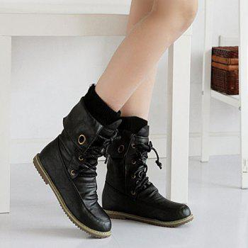 Lace Up Slouch Mid Calf Boots - BLACK 39