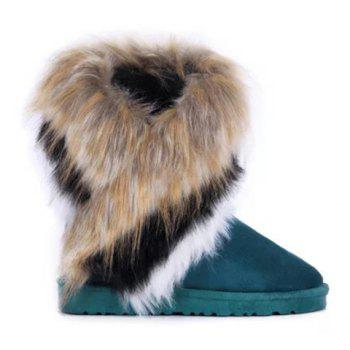 Faux Fur Mid Calf Snow Boots - BLUE 36
