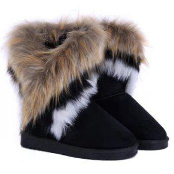 Faux Fur Mid Calf Snow Boots - BLACK 34