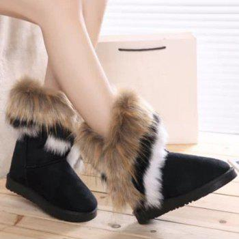 Faux Fur Mid Calf Snow Boots - 34 34