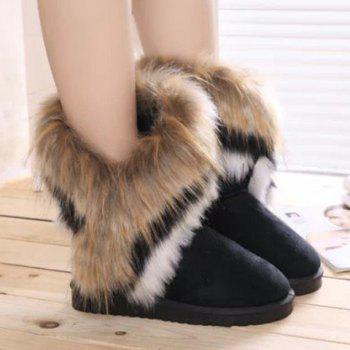 Faux Fur Mid Calf Snow Boots - BLACK 38