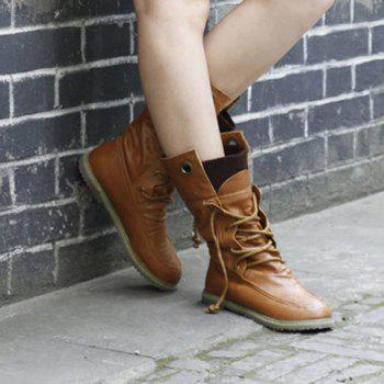 Lace Up Slouch Mid Calf Boots - 38 38