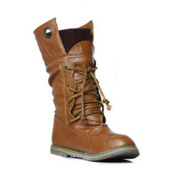Lace Up Slouch Mid Calf Boots
