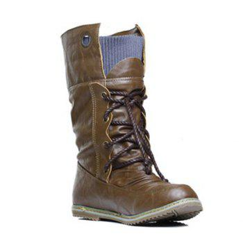 Lace Up Slouch Mid Calf Boots - BROWN 38