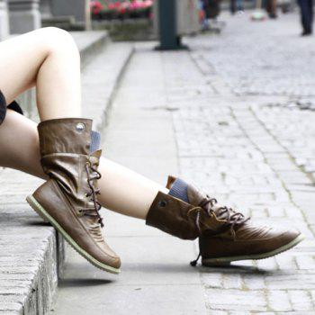 Lace Up Slouch Mid Calf Boots - 39 39