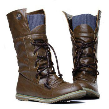 Lace Up Slouch Mid Calf Boots - BROWN 40