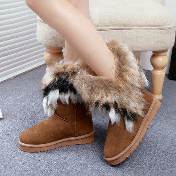 Faux Fur Mid Calf Snow Boots - BROWN 34