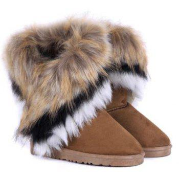 Faux Fur Mid Calf Snow Boots - BROWN 38