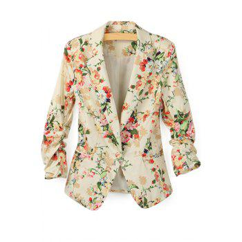 Trendy Style Long Sleeve Lapel Neck Floral Print Slimming Women's Blazer - APRICOT APRICOT