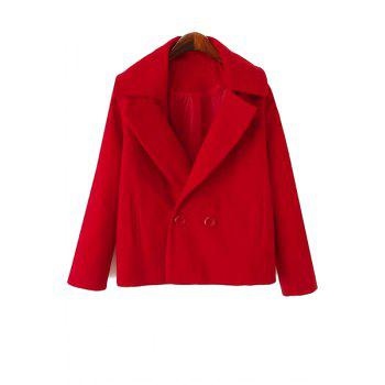 Simple Style Lapel Collar Long Sleeve Solid Color Worsted Women's Coat - RED RED
