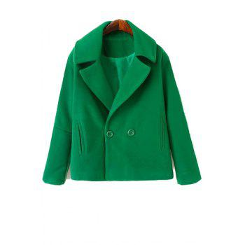 Simple Style Lapel Collar Long Sleeve Solid Color Worsted Women's Coat - GREEN GREEN
