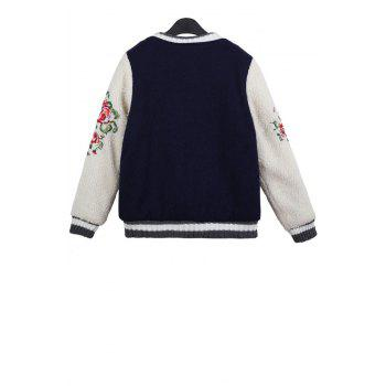 Stylish Stand Collar Long Sleeve Floral Embroidery Color Block Women's Jacket - ONE SIZE(FIT SIZE XS TO M) ONE SIZE(FIT SIZE XS TO M)