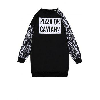 Fashionable Round Collar Long Sleeve Letter Print Women's Sweatshirt