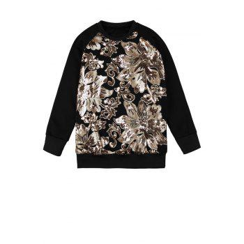Stylish Round Collar Long Sleeve Sequins Floral Pattern Women's Sweatshirt - BLACK ONE SIZE(FIT SIZE XS TO M)