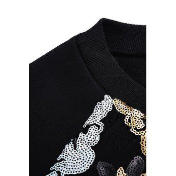 Stylish Round Collar Long Sleeve Sequins Flower Pattern Splicing Women's Sweatshirt - BLACK BLACK