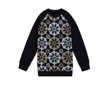 Stylish Round Collar Long Sleeve Sequins Flower Pattern Splicing Women's Sweatshirt