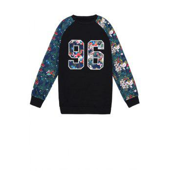Stylish Round Collar Long Sleeve Number Pattern Floral Print Splicing Women's Sweatshirt