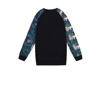 Stylish Round Collar Long Sleeve Number Pattern Floral Print Splicing Women's Sweatshirt - BLACK BLACK
