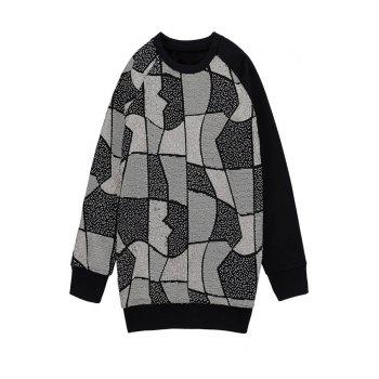 Fashionable Round Collar Long Sleeve Geometric Sequins Women's Sweatshirt - BLACK ONE SIZE(FIT SIZE XS TO M)