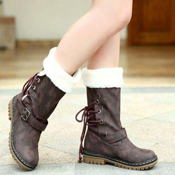 Vintage Suede and Buckle Design Snow Boots For Women - COFFEE 34
