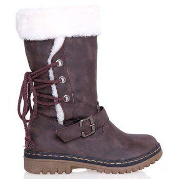 Vintage Suede and Buckle Design Snow Boots For Women - COFFEE 36