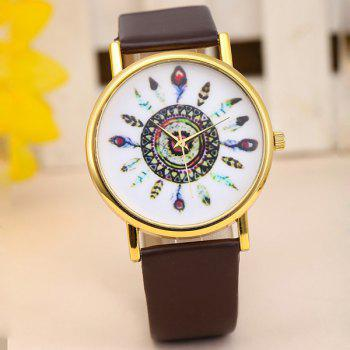 Female Feather Quartz Watch Round Dial Leather Watchband