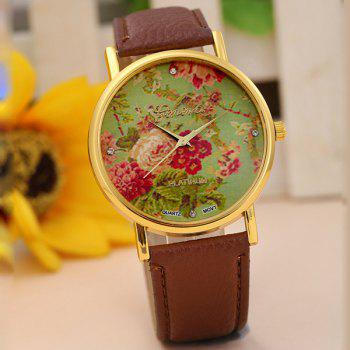 Geneva Women Flower Quartz Watch Round Dial Leather Strap