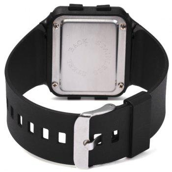 1PC Electronic Watch for Students Red LED Digital Rubber Strap - BLACK