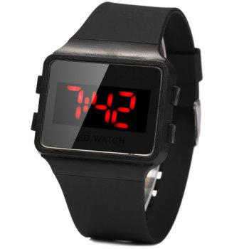 1PC Electronic Watch for Students Red LED Digital Rubber Strap - BLACK BLACK