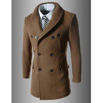 Trendy Turn-down Collar Slimming PU Leather Embellished Double-Breasted Long Sleeves Men's Coat