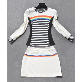 Vintage Women's Long Sleeves Striped T-Shirt and Skirt Suit